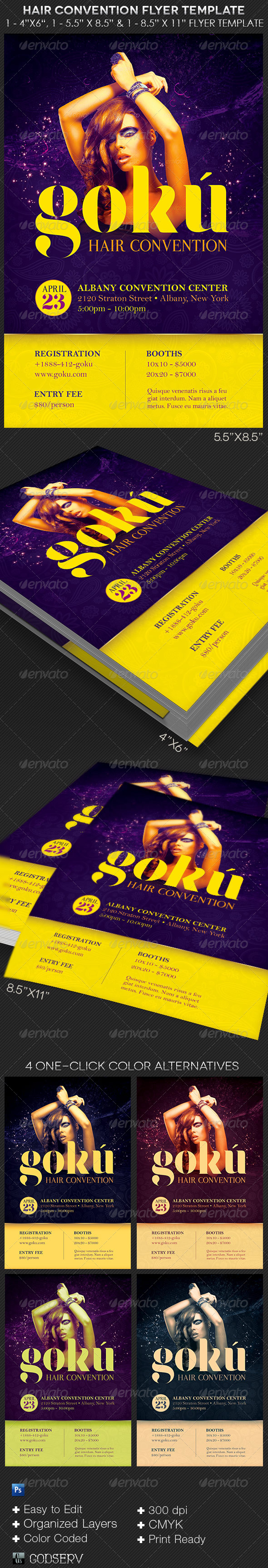 Hair Convention Flyer Photoshop Template - Events Flyers