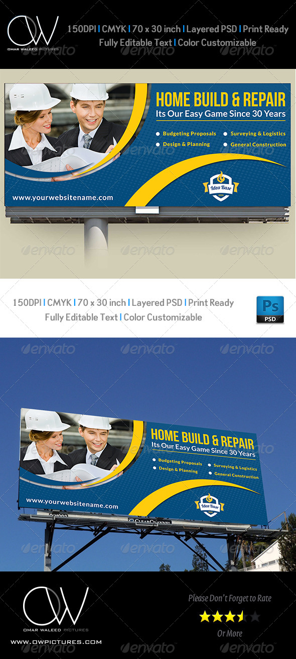 GraphicRiver Construction Business Billboard Template Vol.3 8177537