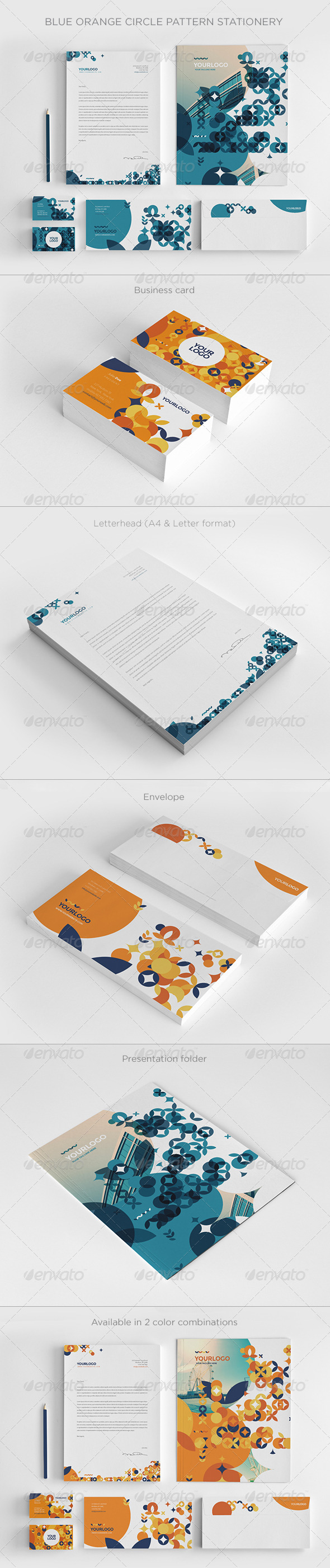GraphicRiver Blue Orange Circle Pattern Stationery 8177638