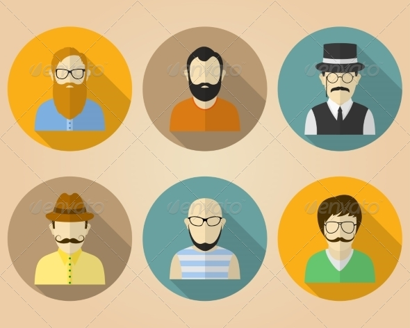 GraphicRiver Set of Male Avatars for Social Networks 8177780