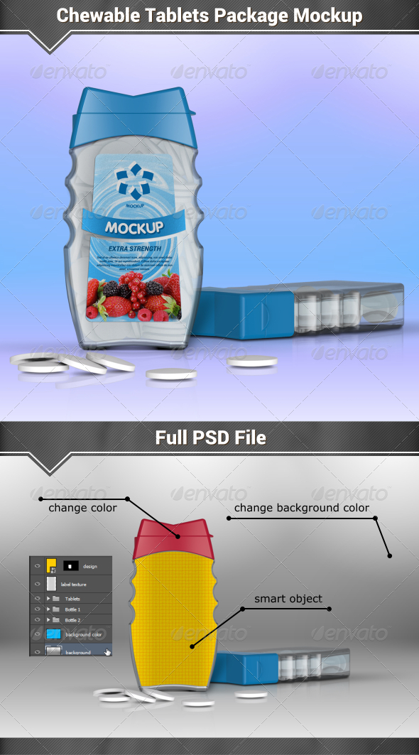 GraphicRiver Chewable Tablets Package Mockup 8175466