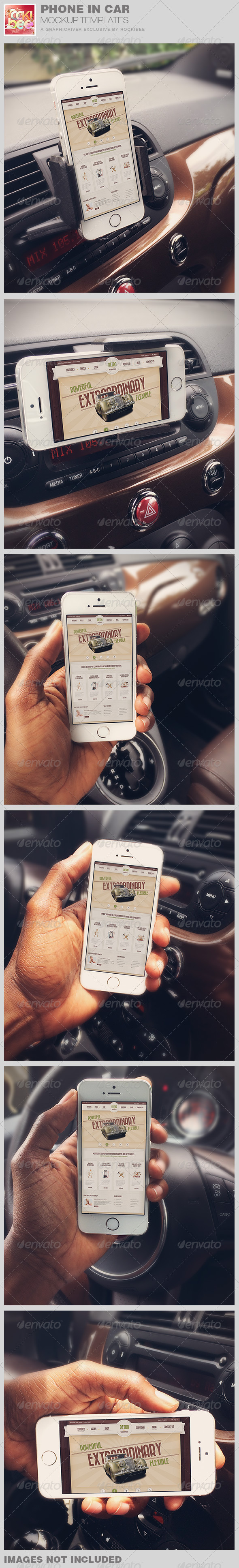 Smart Phone in Car Mockup Templates