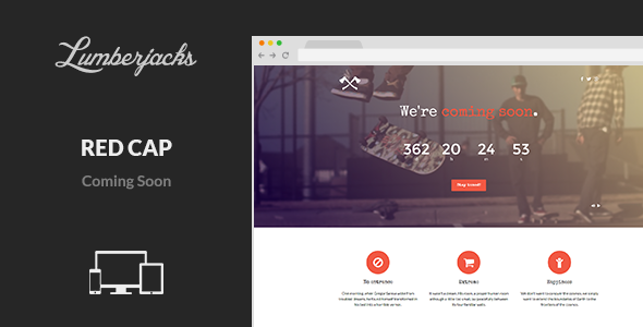 ThemeForest Red Cap Minimal Responsive Coming Soon Template 8149234