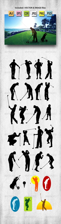 GraphicRiver Male Golfer Silhouettes 8178259