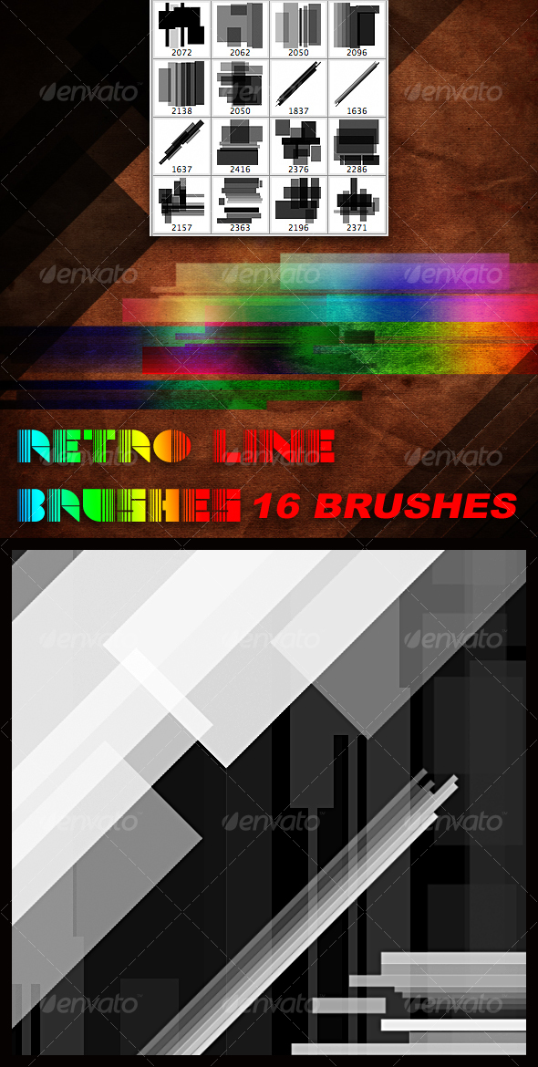 Retro Line Brush Set - Techno / Futuristic Brushes