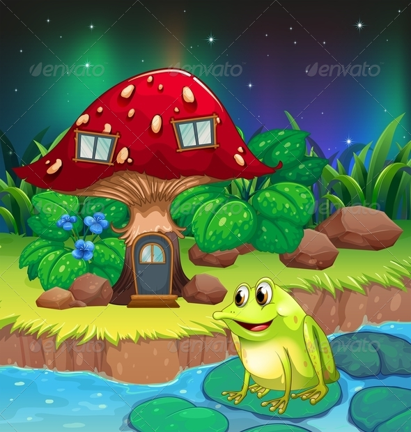 Frog Near a Red Mushroom House