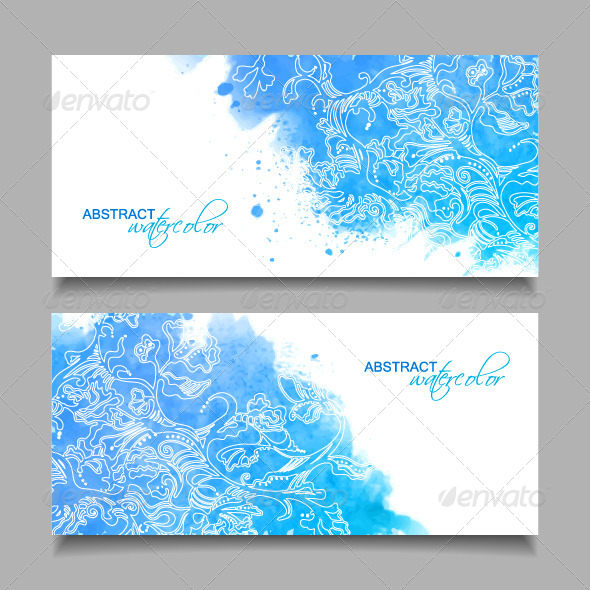 GraphicRiver Abstract Watercolor Blue Banners 8178748