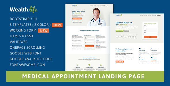 Landing Page Templates - Wealth-Life - <p>Medical Landing Page </p>
