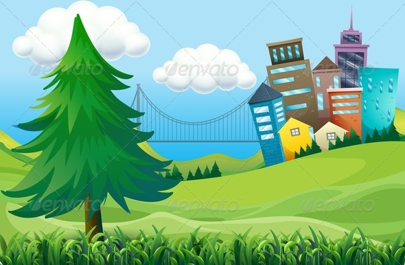 GraphicRiver Hills with buildings 8178835