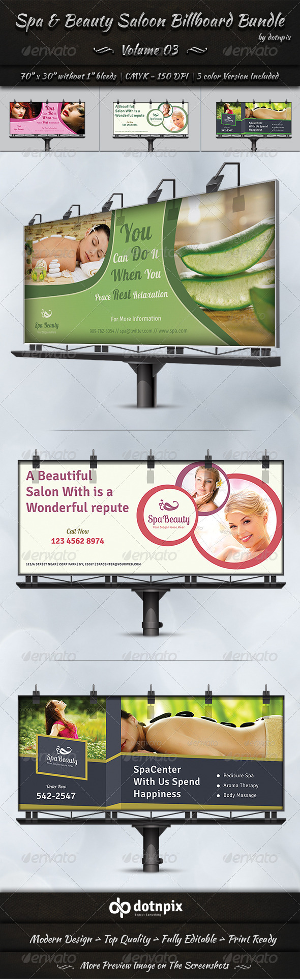 GraphicRiver Spa & Beauty Saloon Billboard Bundle Volume 3 8178945