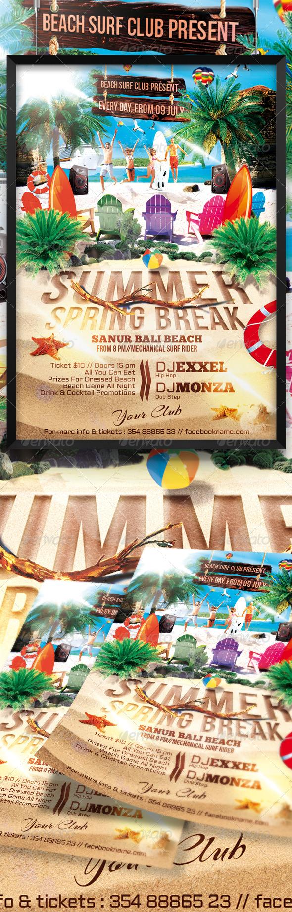 GraphicRiver Summer Spring Break Flyer 8179044