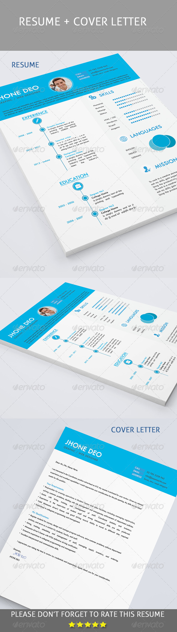 GraphicRiver Clean Resume & Cover Letter 8179192