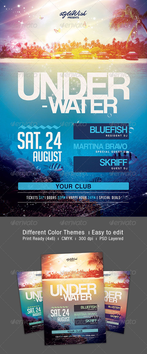 Underwater Party Flyer - Clubs & Parties Events