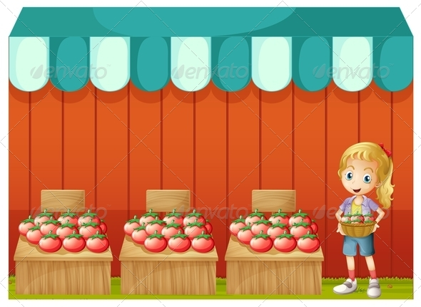 GraphicRiver Girl Selling Tomatoes 8179543
