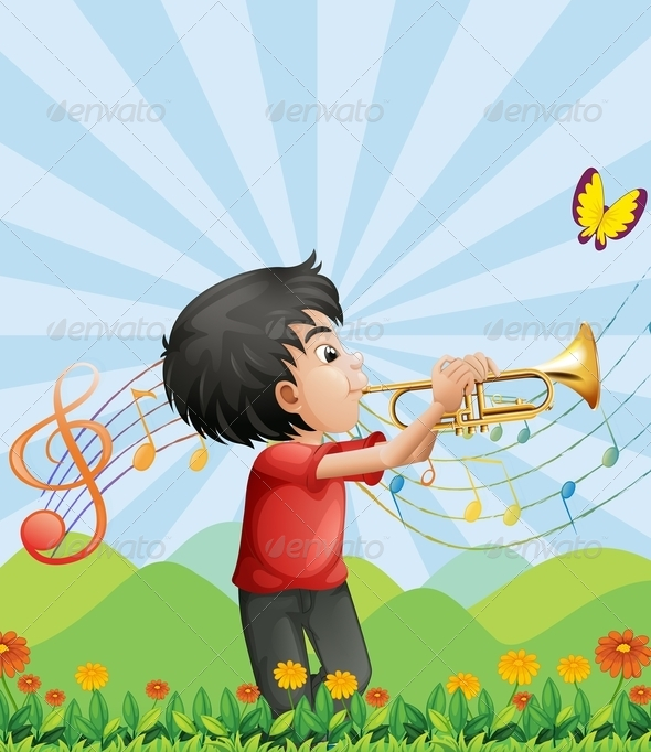 GraphicRiver Boy Playing a Trumpet 8179568