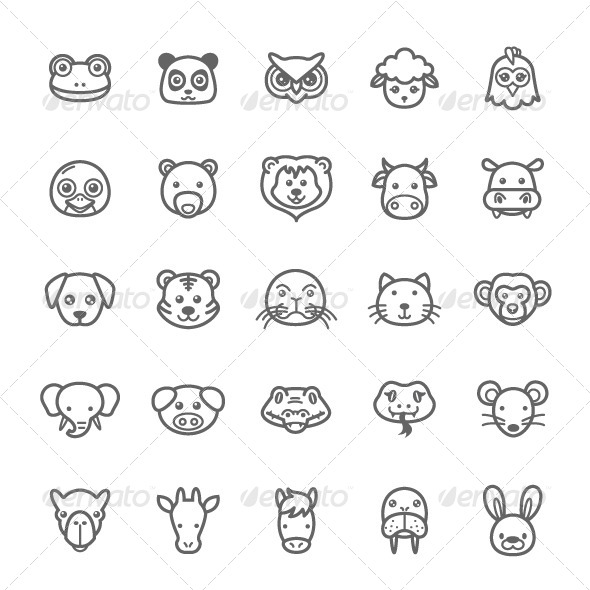 GraphicRiver  25 Outline Stroke Animal Icons