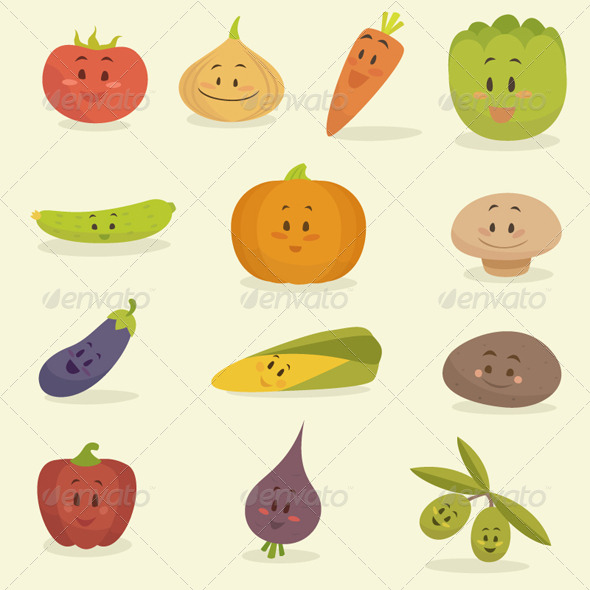 GraphicRiver Cartoon Vegetables 8179728