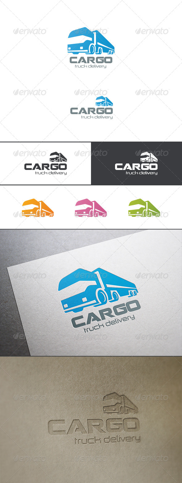 Cargo Truck Transportation Delivery Logo Abstract