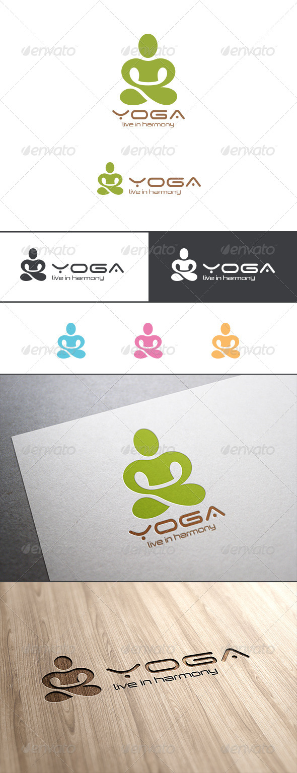 SPA Yoga Logo Lotus Pose Abstract
