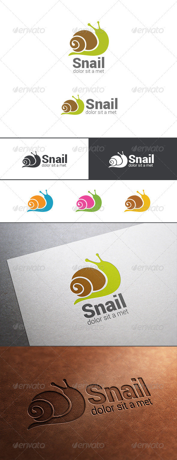 Logo Snail Silhouette Abstract