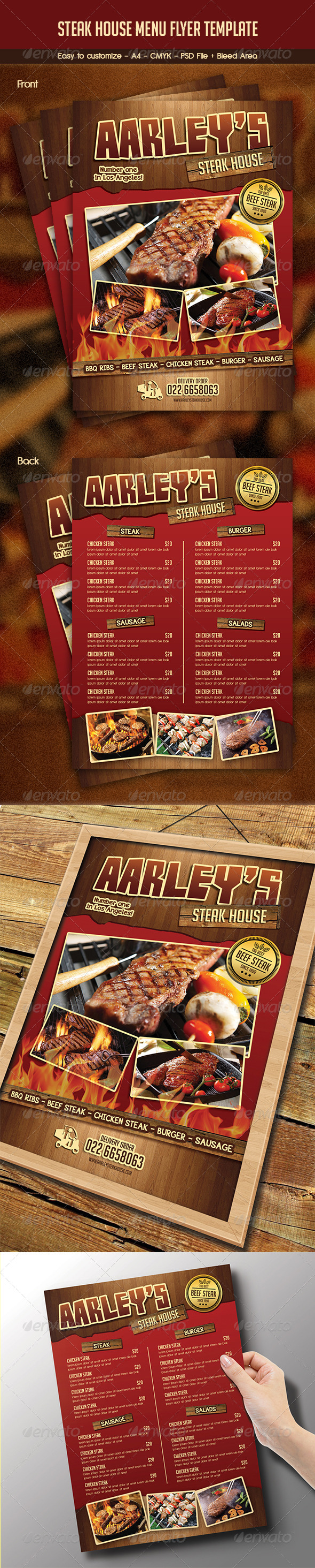 GraphicRiver Steak House Menu Flyer 8179999