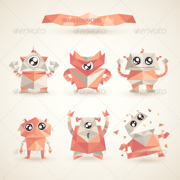 GraphicRiver Triangle Robot Characters 8180043
