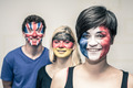 Happy people with painted flags on faces - PhotoDune Item for Sale