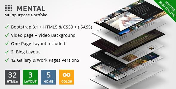 ThemeForest Mental Premium Multipurpose Portfolio & Onepage 8104589