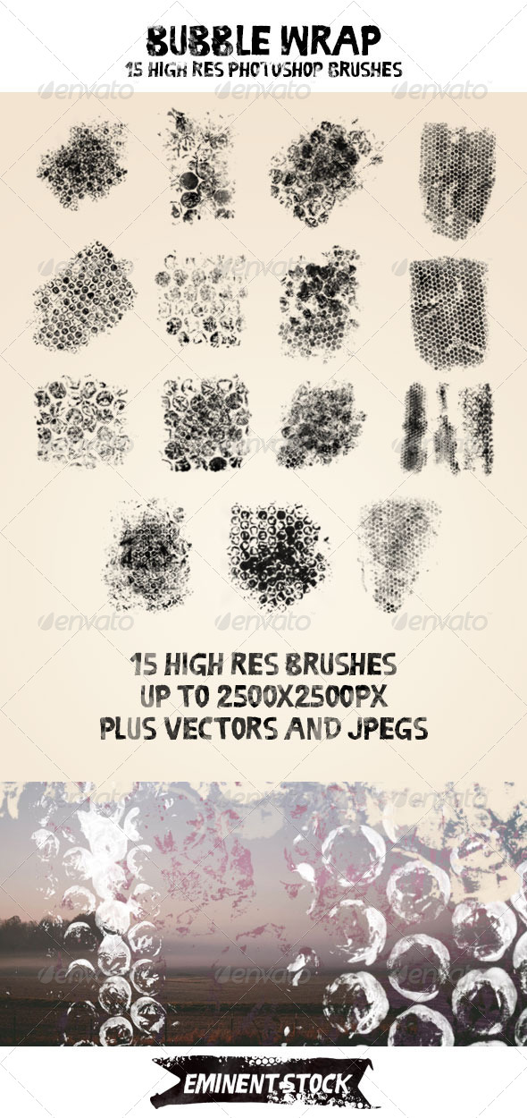 GraphicRiver 15 High-Res Bubble Wrap Brushes 8180335