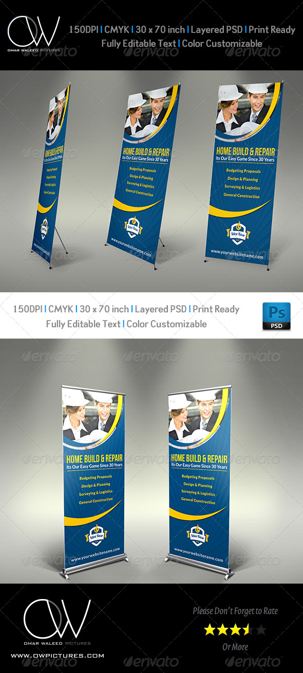 GraphicRiver Construction Business Signage Rollup Template Vol3 8180811