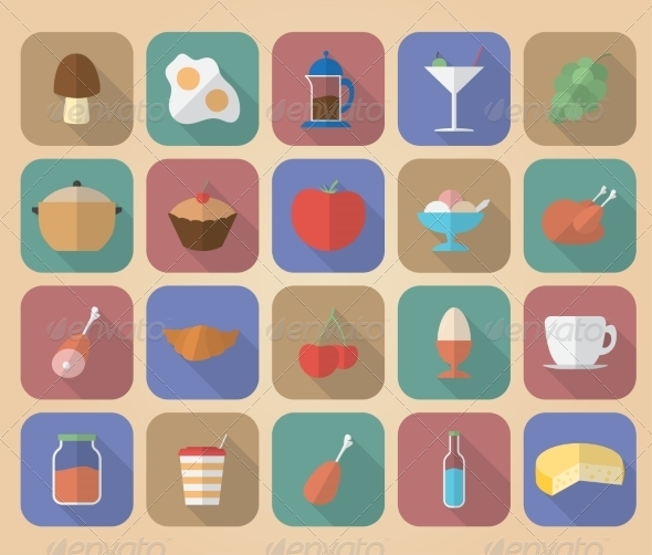 GraphicRiver Set of Food and Drinks Icons 8181174