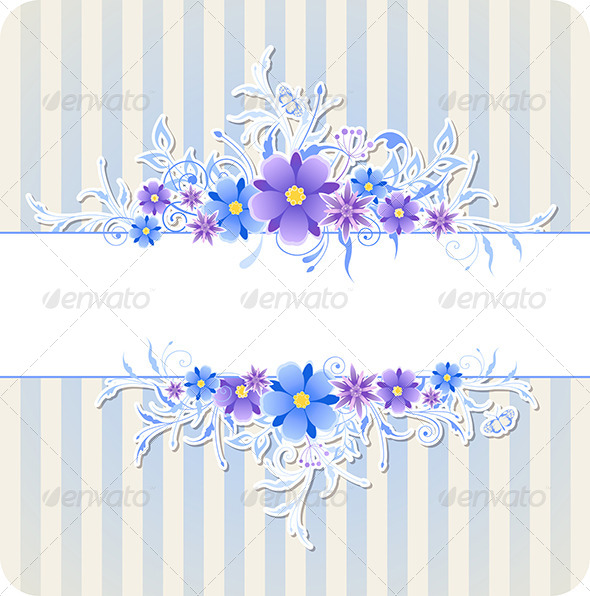 GraphicRiver Background with Blue Flowers and Strips 8181268