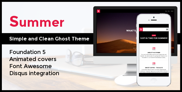 ThemeForest Summer Simple and Clean Ghost Theme 8181353