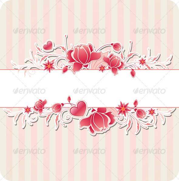 GraphicRiver Background with Red Flowers and Strips 8181570