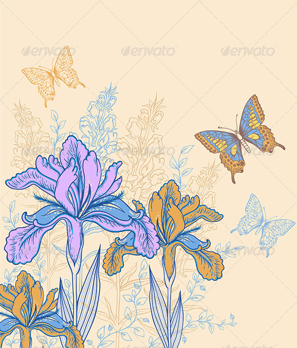 GraphicRiver Background with Flowers and Butterflies 8181592