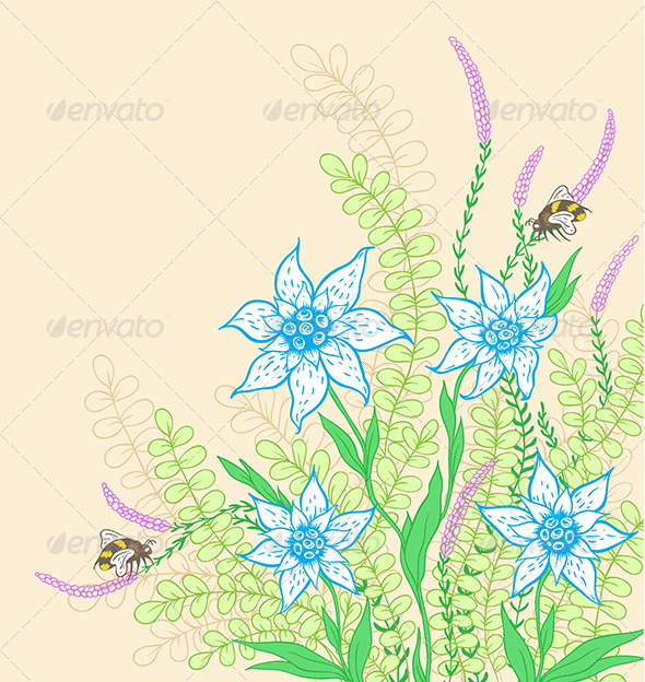 GraphicRiver Background with Flowers and Green Leaves 8181670
