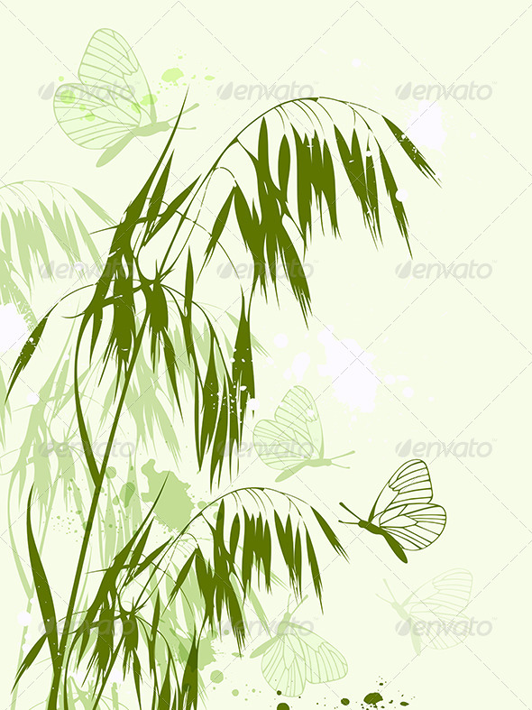 GraphicRiver Green Oat and Butterflies 8181688