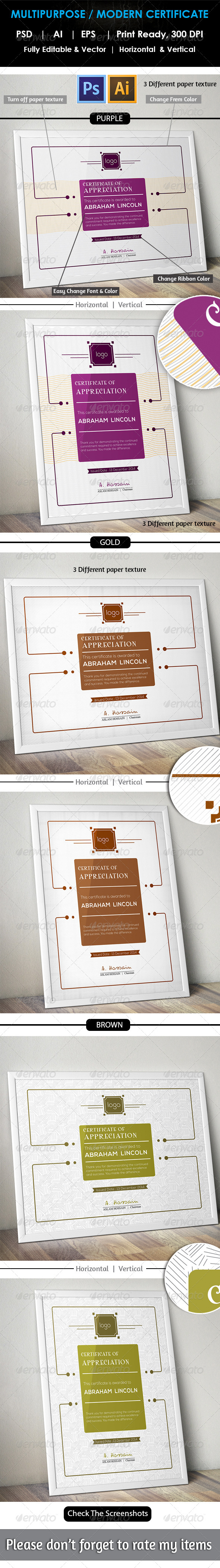 GraphicRiver Modern Multipurpose Certificate GD011 8181799