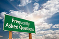 Frequently Asked Questions Green Road Sign with Dramatic Clouds and Sky. - PhotoDune Item for Sale