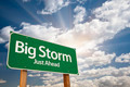 Big Storm Green Road Sign with Dramatic Clouds and Sky. - PhotoDune Item for Sale