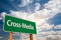 Cross-Media Green Road Sign with Dramatic Clouds and Sky. - PhotoDune Item for Sale