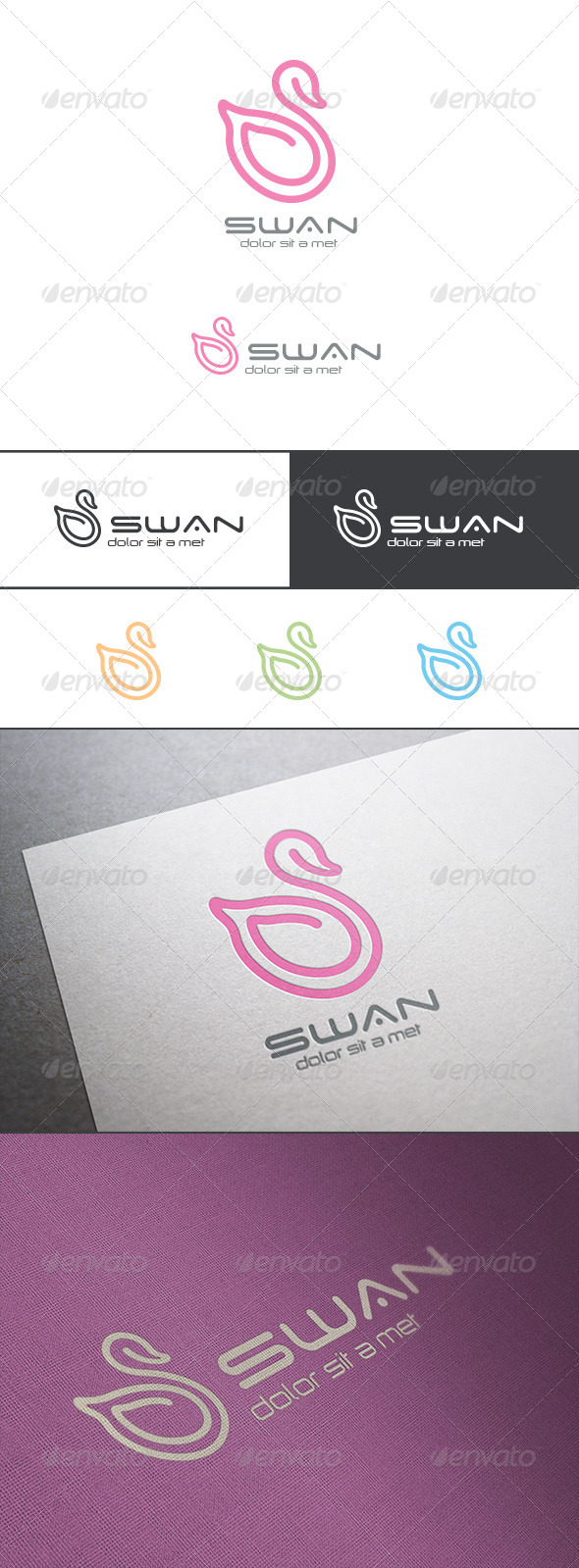 GraphicRiver Logo Swan Line Art Abstract 8181938