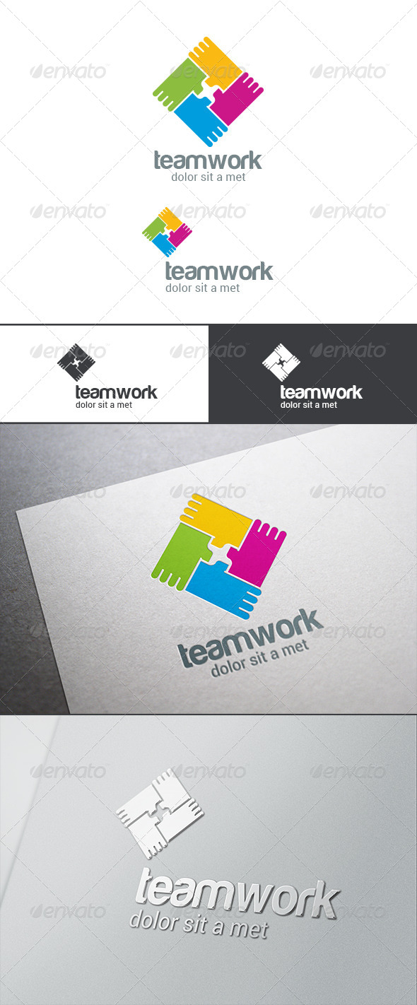 GraphicRiver Teamwork Logo Abstract Hands Infinite Loop 8181939