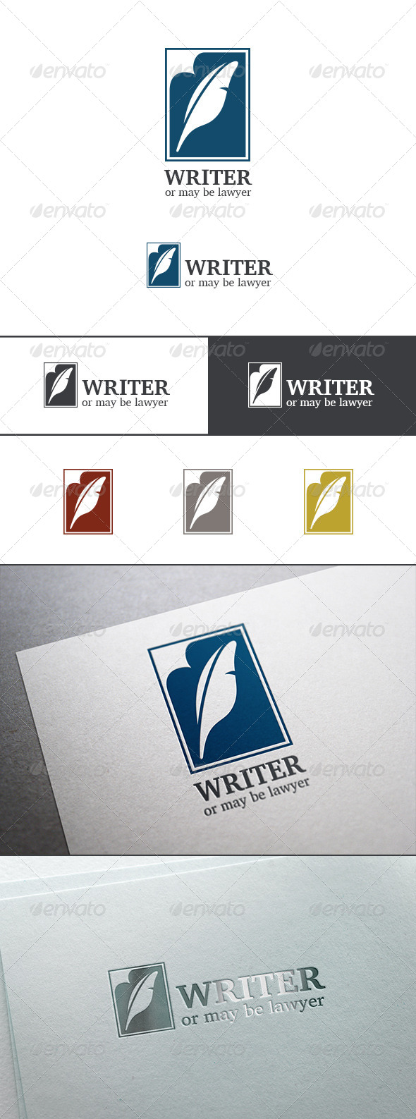 GraphicRiver Lawyer Writer Feather Silhouette Logo Abstract 8181942