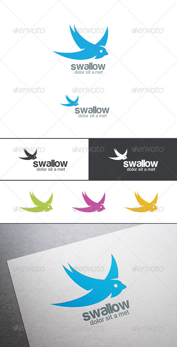 GraphicRiver Logo Swallow Bird Silhouette Abstract 8181946