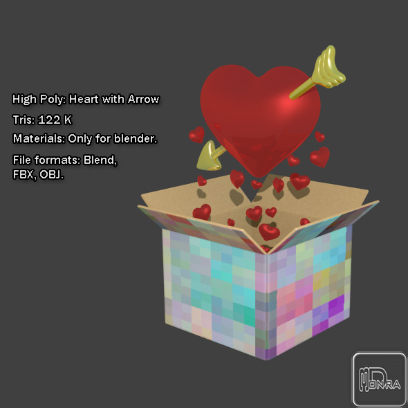 High Poly Heart with Arrow