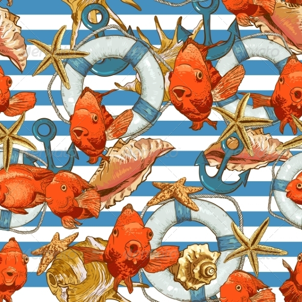 Seamless Background with Sea Shells and Fish