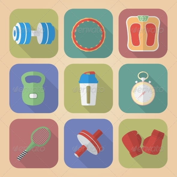 GraphicRiver Set of Fitnes Icons 8182719