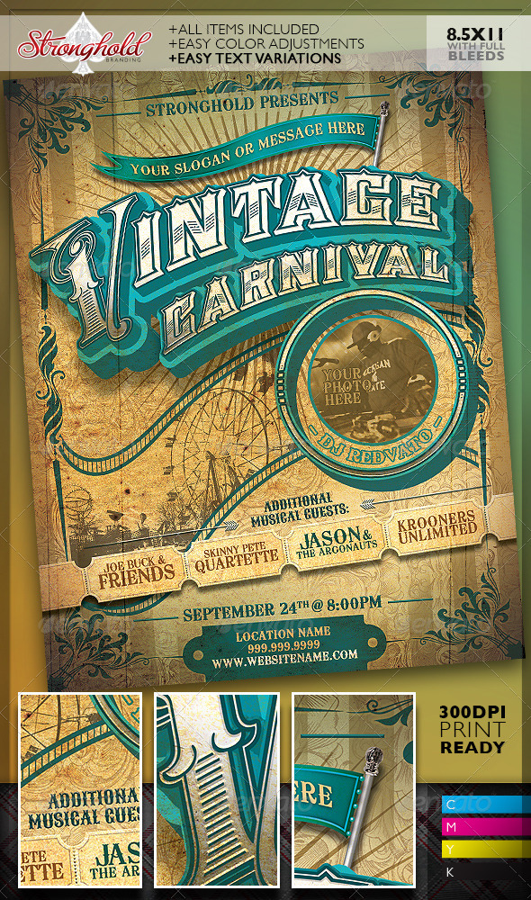 GraphicRiver Vintage Carnival Circus Event Flyer Template 8182758