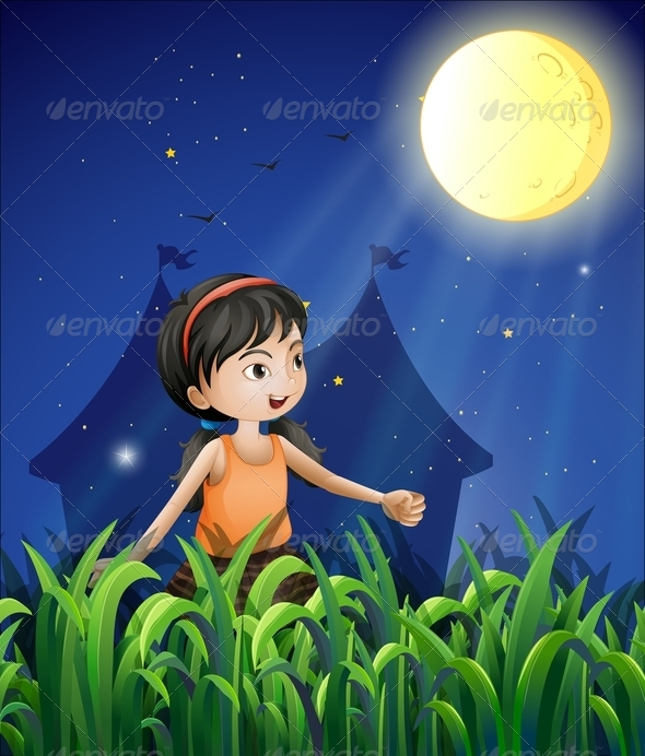 GraphicRiver Young Girl Moon Watching 8183099